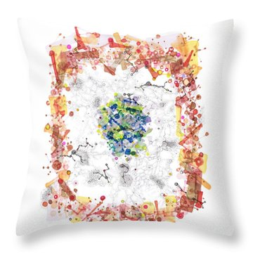 Cellular Generation Throw Pillow by Regina Valluzzi
