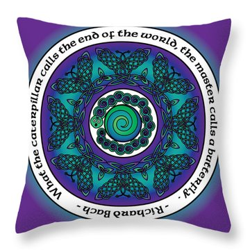 Celtic Butterfly Mandala Throw Pillow