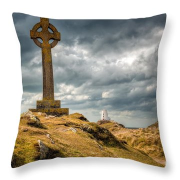 Celtic Cross At Llanddwyn Island Throw Pillow by Adrian Evans