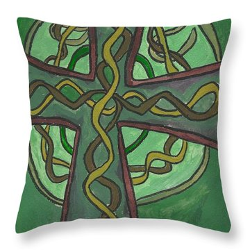 Throw Pillow featuring the painting Celtic Cross by Artists With Autism Inc