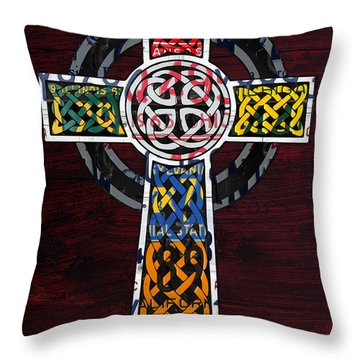 Celtic Cross License Plate Art Recycled Mosaic On Wood Board Throw Pillow