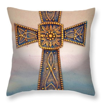 Celtic Cross Sunrise Throw Pillow by Sandi OReilly