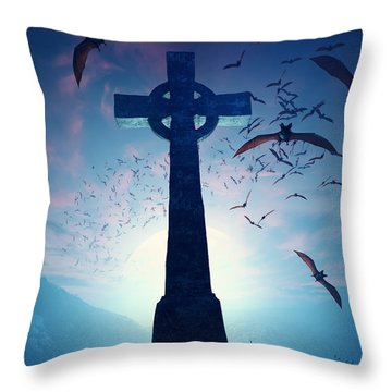 Celtic Cross With Swarm Of Bats Throw Pillow