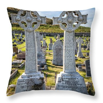 Celtic Crosses Throw Pillow by Adrian Evans