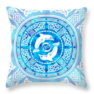 Throw Pillow featuring the mixed media Celtic Dolphins by Kristen Fox