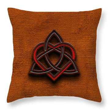 Throw Pillow featuring the digital art Celtic Knotwork Valentine Heart Canvas Texture 1 Vertical by Brian Carson