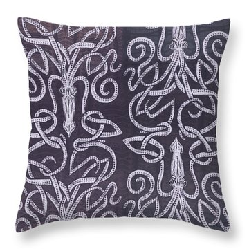 Celtic Plum Kraken Throw Pillow by CR Leyland