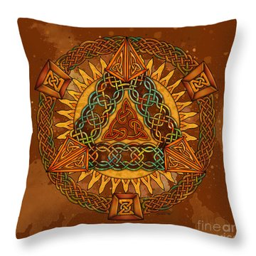 Celtic Pyramid Mandala Throw Pillow by Kristen Fox