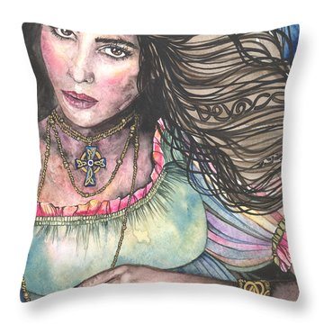 Celtic Queen Throw Pillow by Kim Whitton