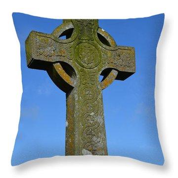 Celtic Stone Cross In Ireland Throw Pillow by DejaVu Designs