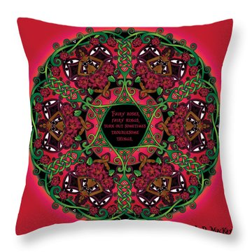 Celtic Summer Fairy Mandala Throw Pillow