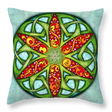 Throw Pillow featuring the mixed media Celtic Summer Mandala by Kristen Fox