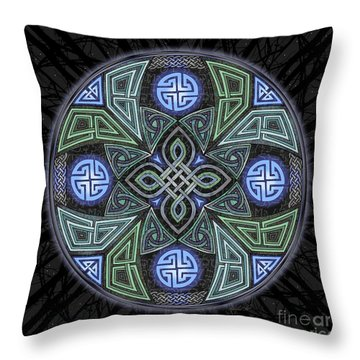 Throw Pillow featuring the mixed media Celtic Ufo Mandala by Kristen Fox
