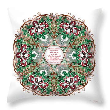 Celtic Winter Fairy Mandala Throw Pillow