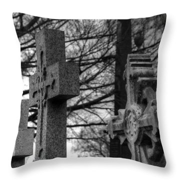 Cemetery Crosses Throw Pillow by Jennifer Ancker