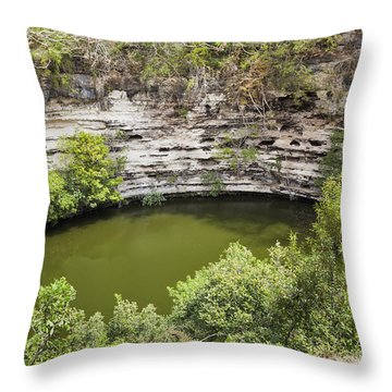 Throw Pillow featuring the photograph Cenote Sagrado At Chichen Itza by Bryan Mullennix