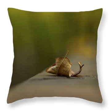 Center Stage 2 - A Single Leaf Throw Pillow by Jane Eleanor Nicholas