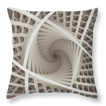 Centered White Spiral-fractal Art Throw Pillow