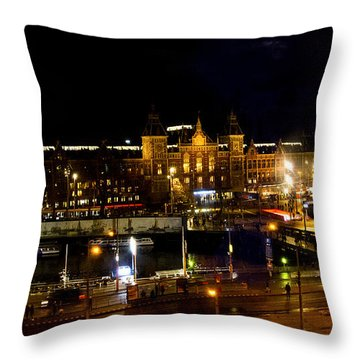Centraal Station At Night Throw Pillow by Pravine Chester