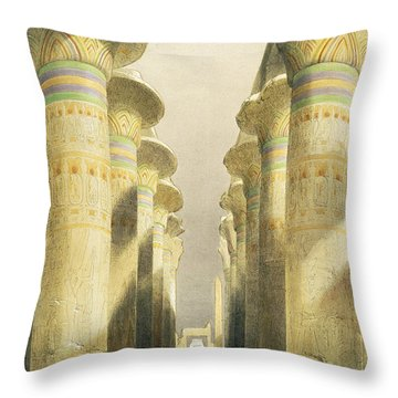 Central Avenue Of The Great Hall Of Columns Throw Pillow by David Roberts