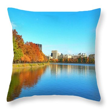 Central Park Autumn Landscape Throw Pillow