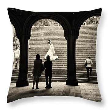 Central Park Bride Throw Pillow