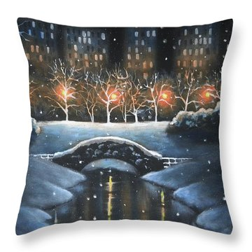 Central Park In Colour Throw Pillow