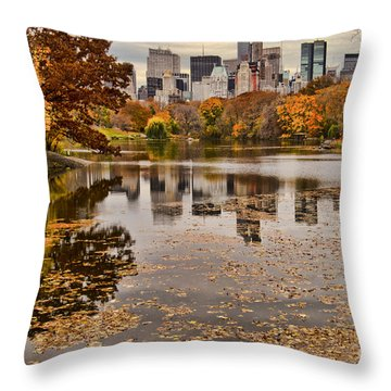 Central Park In The Fall New York City Throw Pillow by Sabine Jacobs