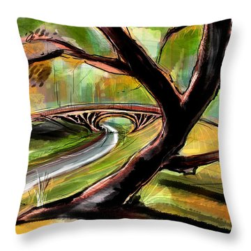 Throw Pillow featuring the painting Central Park  by John Jr Gholson