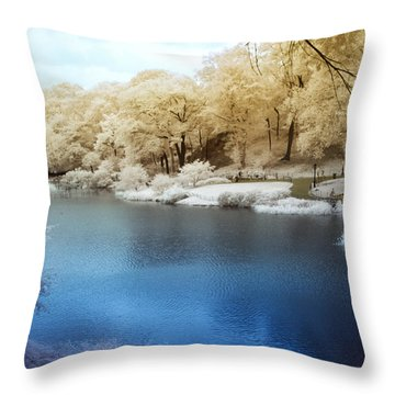 Central Park Lake Infrared Throw Pillow