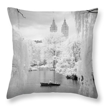 Central Park Lake-infrared Willows Throw Pillow