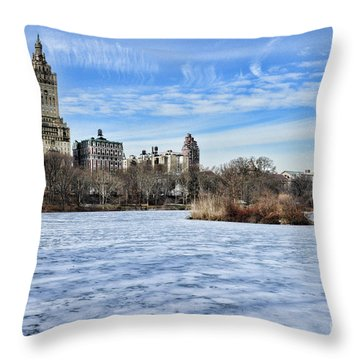 Central Park Lake Looking West Throw Pillow by Paul Ward