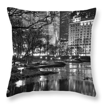 Central Park Lake Night Throw Pillow