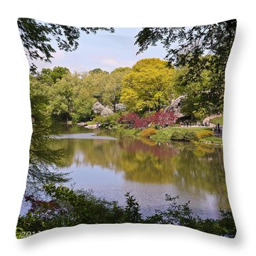 Throw Pillow featuring the photograph Central Park Landscape by Ann Murphy