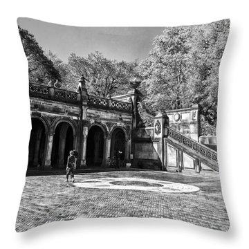 Central Park - Near Bethesda Fountain Throw Pillow by Madeline Ellis
