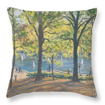 Central Park New York Throw Pillow by Julian Barrow