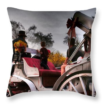 Central Park New York - Romantic Carriage Ride 2 Throw Pillow by Miriam Danar