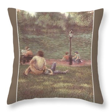Throw Pillow featuring the painting Central Park Nyc by Walter Casaravilla