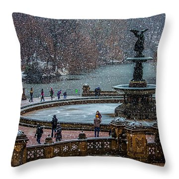 Central Park Snow Storm Throw Pillow
