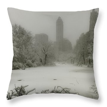 Throw Pillow featuring the photograph Central Park Snowstorm by Chris Lord