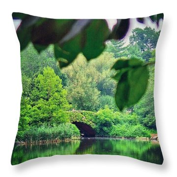 Green Nyc Throw Pillow