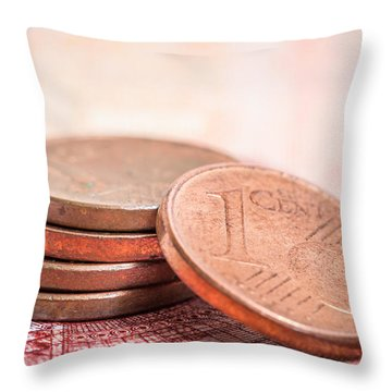 Throw Pillow featuring the photograph Cents And Euros by Gary Gillette