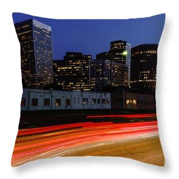 Century City Skyline At Night Throw Pillow by Paul Velgos
