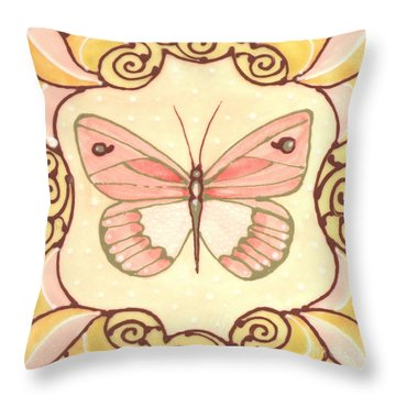 Throw Pillow featuring the painting Ceramic Butterfly 2 by Anna Skaradzinska