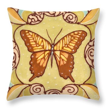Throw Pillow featuring the painting Ceramic Butterfly by Anna Skaradzinska