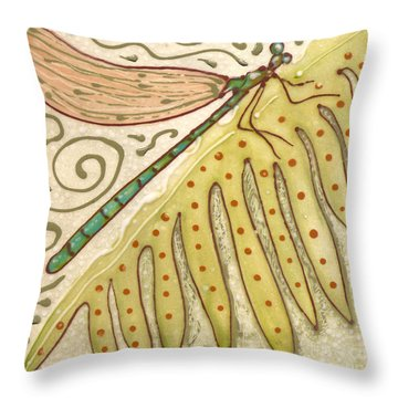 Throw Pillow featuring the painting Ceramic Dragonfly by Anna Skaradzinska