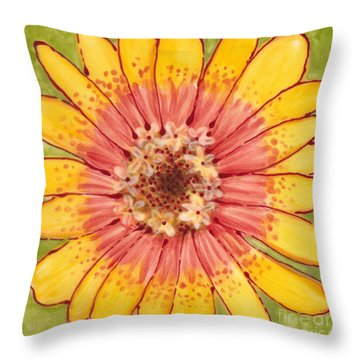 Throw Pillow featuring the painting Ceramic Flower 1 by Anna Skaradzinska