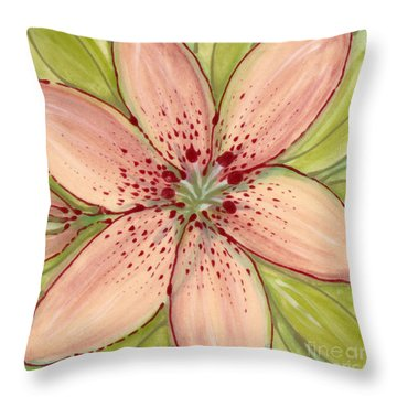 Throw Pillow featuring the painting Ceramic Flower 2 by Anna Skaradzinska