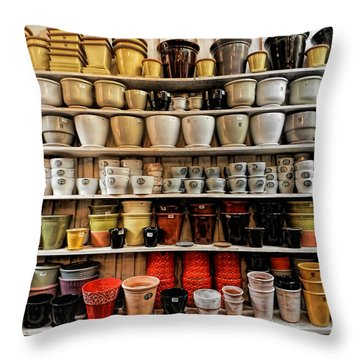 Ceramic Pots For Sale Throw Pillow