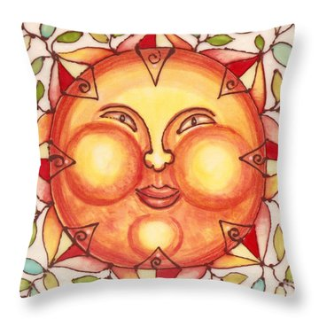 Throw Pillow featuring the painting Ceramic Sun 2 by Anna Skaradzinska